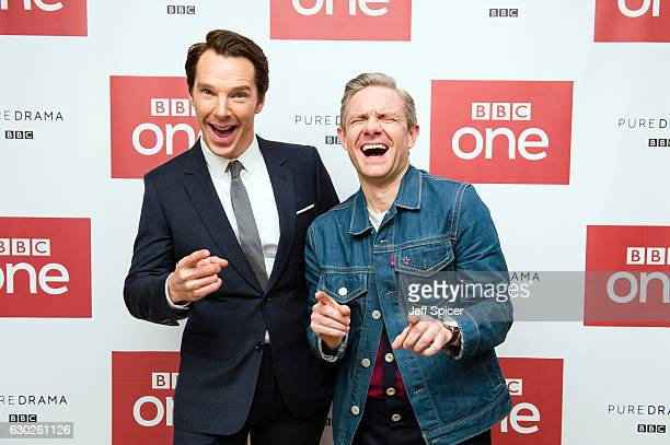 Benedict Cumberbatch and Martin Freeman attend a screening of the Sherlock 2016 Christmas Special at Ham Yard Hotel on December 19 2016 in London...