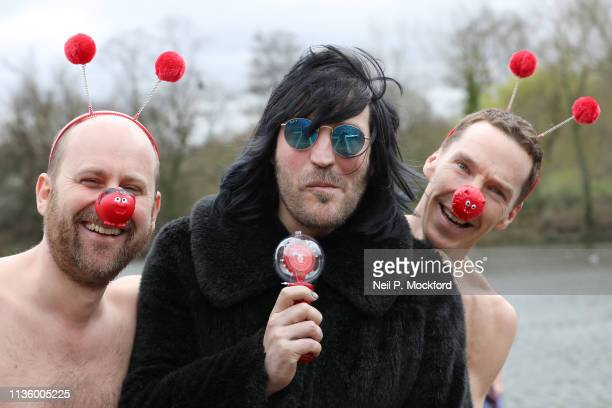 Benedict Cumberbatch and Noel Fielding and Zander Woollcombe of United Global Mental Health support Red Nose Day by swimming in cold water for Mental...