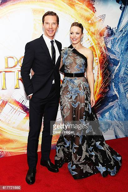 """Benedict Cumberbatch and Rachel McAdams attend the fan screening event for """"Doctor Strange"""" on October 24, 2016 in London, United Kingdom."""