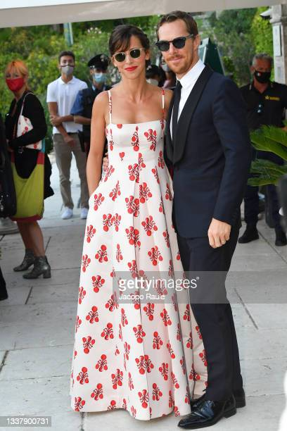 Benedict Cumberbatch and Sophie Hunter are seen arriving at the 78th Venice International Film Festival on September 02, 2021 in Venice, Italy.