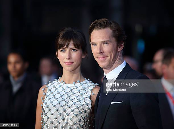 """Benedict Cumberbatch and Sophie Hunter attend a screening of """"Black Mass"""" during the BFI London Film Festival at Odeon Leicester Square on October..."""