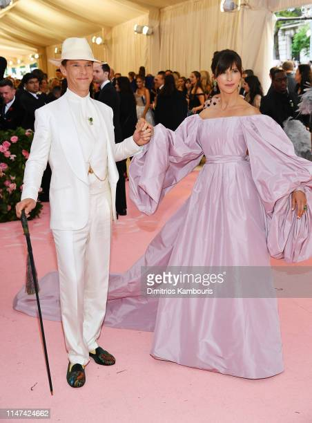 Benedict Cumberbatch and Sophie Hunter attend The 2019 Met Gala Celebrating Camp: Notes on Fashion at Metropolitan Museum of Art on May 06, 2019 in...