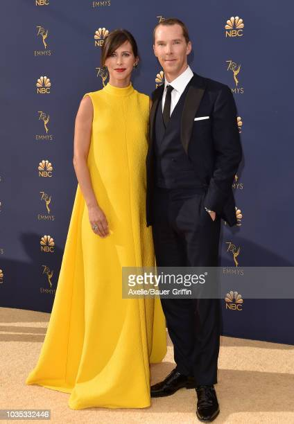 Benedict Cumberbatch and Sophie Hunter attend the 70th Emmy Awards at Microsoft Theater on September 17 2018 in Los Angeles California