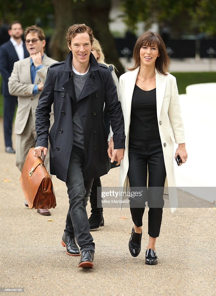 Benedict Cumberbatch and Sophie Hunter attend the Burberry Prorsum show during London Fashion Week Spring/Summer 2016/17 on September 21, 2015 in London, England.
