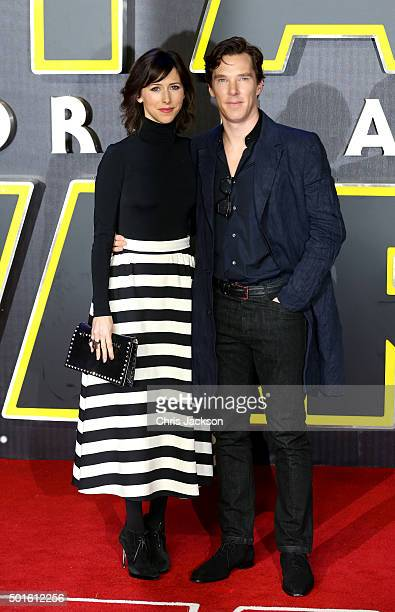 Benedict Cumberbatch and Sophie Hunter attend the European Premiere of 'Star Wars The Force Awakens' at Leicester Square on December 16 2015 in...