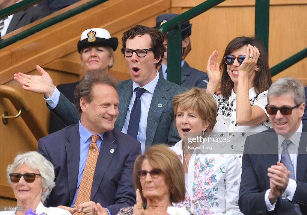 Benedict Cumberbatch and Sophie Hunter attend the Men's Final of the Wimbledon Tennis Championships between Milos Raonic and Andy Murray at Wimbledon on July 10, 2016 in London, England.