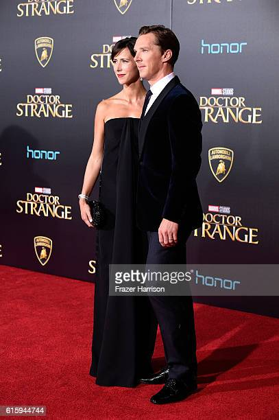 Benedict Cumberbatch and Sophie Hunter attend the premiere of Disney and Marvel Studios' Doctor Strange at the El Capitan Theatre on October 20 2016...