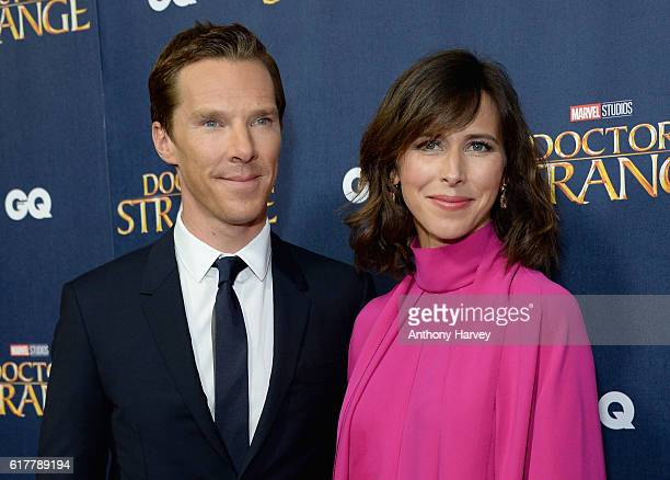 Benedict Cumberbatch and Sophie Hunter attend the red carpet launch event for Doctor Strange at Westminster Abbey on October 24 2016 in London United...