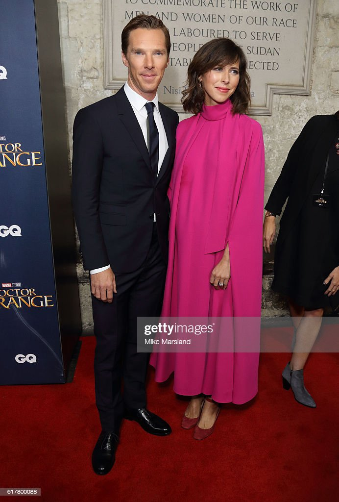 Benedict Cumberbatch and Sophie Hunter attend the red carpet launch event for 'Doctor Strange' on October 24, 2016 in London, United Kingdom.