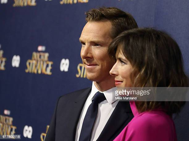 Benedict Cumberbatch and Sophie Hunter attend the red carpet launch event for Doctor Strange on October 24 2016 in London United Kingdom