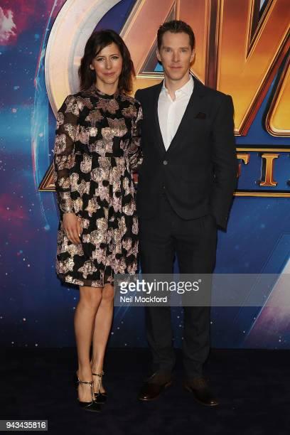 """Benedict Cumberbatch and Sophie Hunter attend the UK Fan Event for """"Avengers Infinity War"""" at Television Studios White City on April 8, 2018 in..."""