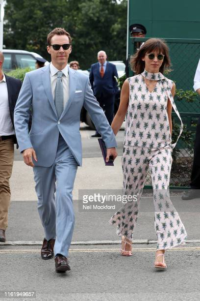 Benedict Cumberbatch and Sophie Hunter attends Men's Final Day at the Wimbledon 2019 Tennis Championships at All England Lawn Tennis and Croquet Club...