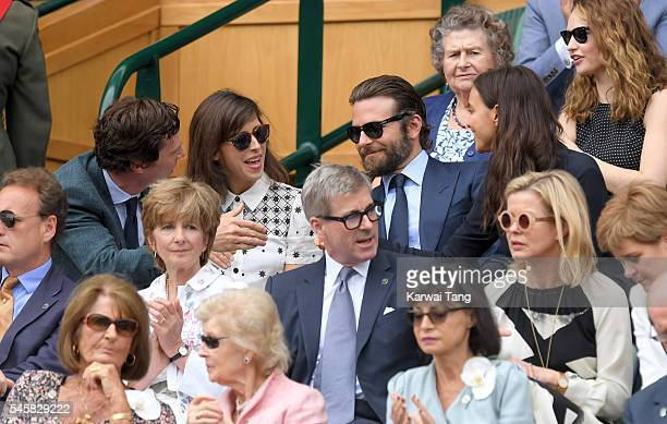 Benedict Cumberbatch and Sophie Hunter Bradley Cooper and Irina Shayk attend the Men's Final of the Wimbledon Tennis Championships between Milos...