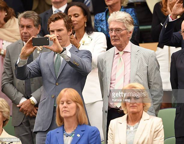 Benedict Cumberbatch and Timonthy Cumberbatch attend day 13 of the Wimbledon Tennis Championships at Wimbledon on July 12 2015 in London England