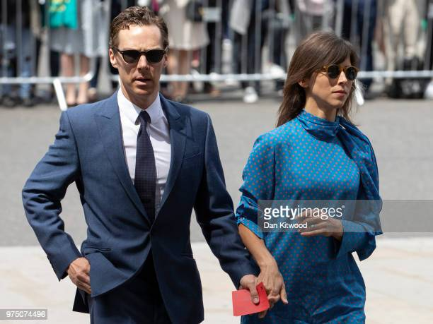 Benedict Cumberbatch and wife Sophie Hunter arrive at Westminster Abbey ahead of Professor Stephen Hawking's memorial service on June 15 2018 in...