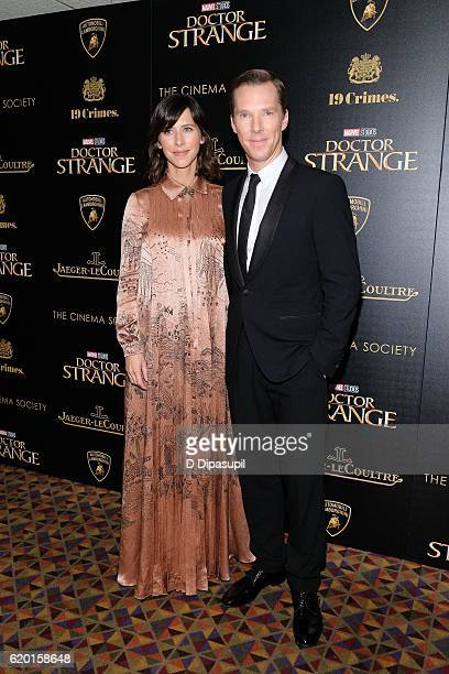Benedict Cumberbatch and wife Sophie Hunter attend a screening of Marvel Studios' Doctor Strange hosted by Lamborghini with The Cinema Society...