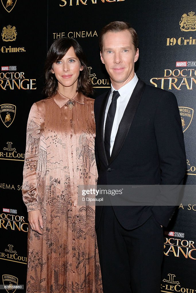 Benedict Cumberbatch (R) and wife Sophie Hunter attend a screening of Marvel Studios' 'Doctor Strange', hosted by Lamborghini with The Cinema Society, Jaeger-LeCoultre, and 19 Crimes Wines, at AMC Empire on November 1, 2016 in New York City.