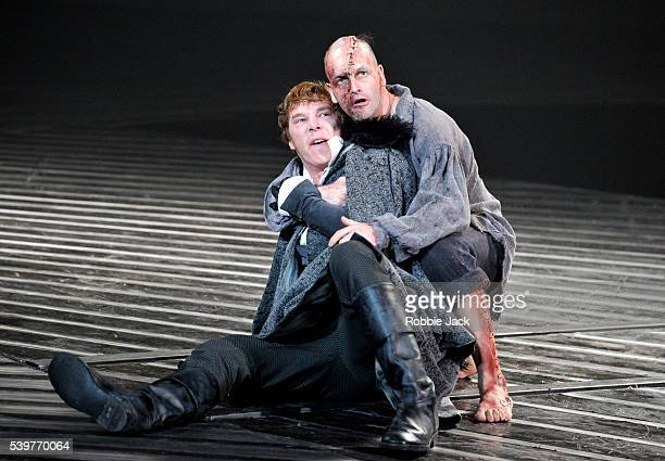 Benedict Cumberbatch as Victor Frankenstein and Jonny Lee Miller as The Creature in the National Theatre's production of Nick Dear's 'Frankenstein'...