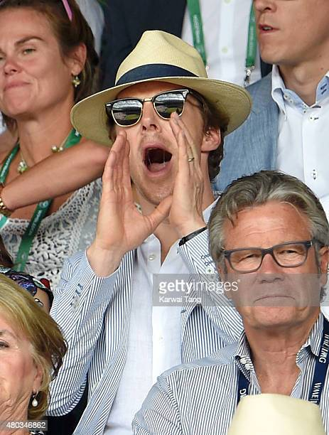 Benedict Cumberbatch attends day eleven of the Wimbledon Tennis Championships at Wimbledon on July 10 2015 in London England