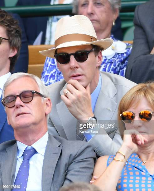 Benedict Cumberbatch attends the men's singles final on day thirteen of the Wimbledon Tennis Championships at the All England Lawn Tennis and Croquet...