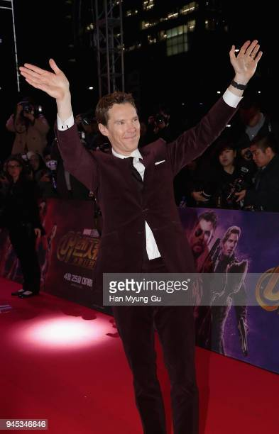 Benedict Cumberbatch attends the Seoul premiere of 'Avengers Infinity War' on April 12 2018 in Seoul South Korea
