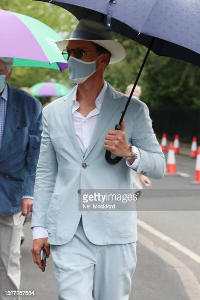 Benedict Cumberbatch attends Wimbledon Championships Tennis Tournament Day 8 at All England Lawn Tennis and Croquet Club on July 06, 2021 in London,...