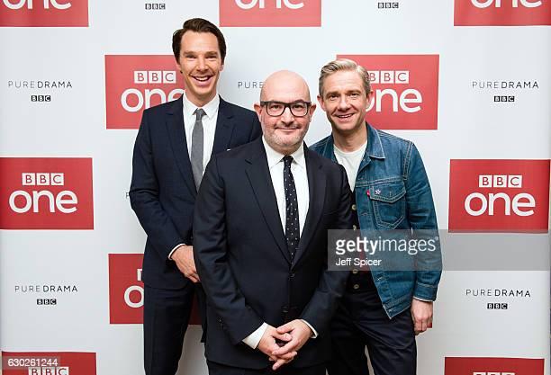 Benedict Cumberbatch Boyd Hilton and Martin Freeman attend a screening of the Sherlock 2016 Christmas Special at Ham Yard Hotel on December 19 2016...