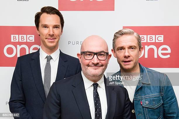 Benedict Cumberbatch, Boyd Hilton and Martin Freeman attend a screening of the Sherlock 2016 Christmas Special at Ham Yard Hotel on December 19, 2016...