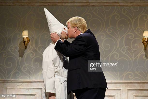 LIVE Benedict Cumberbatch Episode 1709 Pictured A Ku Klux Klan member and Alec Baldwin as Republican Presidential Candidate Donald Trump during the...
