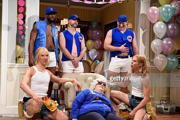 LIVE 'Benedict Cumberbatch' Episode 1709 Pictured Benedict Cumberbatch Dexter Fowler David Ross Aidy Bryant Anthony Rizzo and Mikey Day during the...