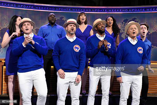LIVE 'Benedict Cumberbatch' Episode 1709 Pictured Chicago Cubs players Anthony Rizzo David Ross and Dexter Fowler sing with Bill Murray during...