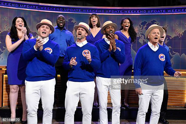 LIVE Benedict Cumberbatch Episode 1709 Pictured Chicago Cubs players Anthony Rizzo David Ross and Dexter Fowler sing with Bill Murray during Weekend...