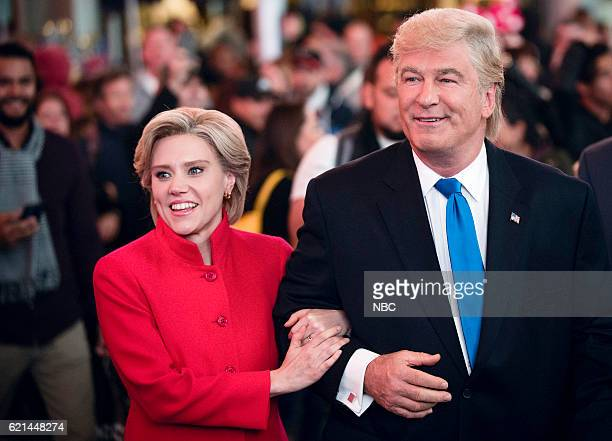 LIVE Benedict Cumberbatch Episode 1709 Pictured Kate McKinnon as Democratic Presidential Candidate Hillary Clinton and Alec Baldwin as Republican...