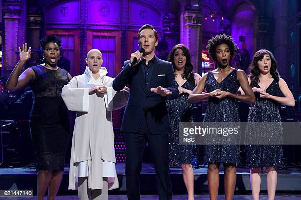 LIVE Benedict Cumberbatch Episode 1709 Pictured Leslie Jones Kate McKinnon as Tilda Swinton Benedict Cumberbatch Cecily Strong Sasheer Zamata and...