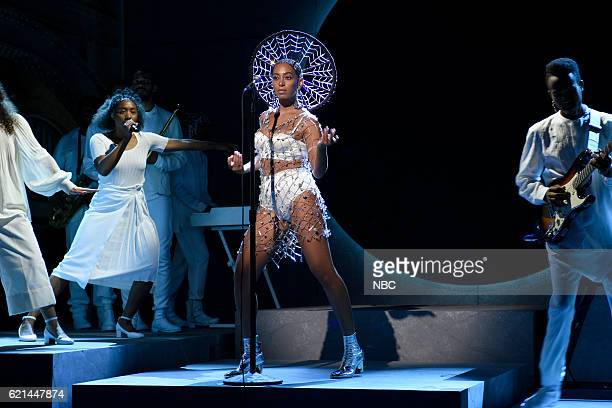 LIVE 'Benedict Cumberbatch' Episode 1709 Pictured Musical guest Solange Knowles performs on November 5 2016