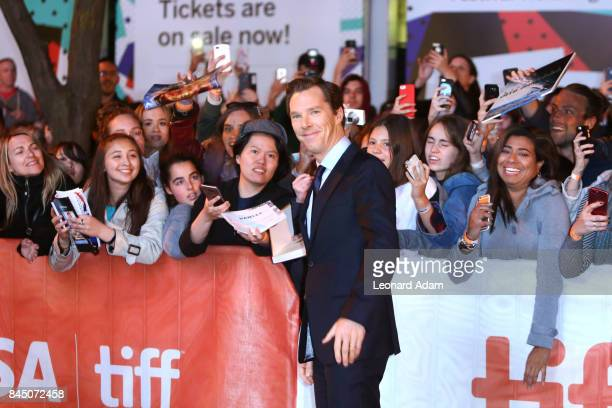 Benedict Cumberbatch interacts with fans as attends The Current War premiere during the 2017 Toronto International Film Festival at Princess of Wales...