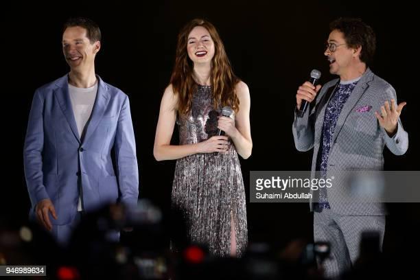 Benedict Cumberbatch Karen Gillan and Robert Downey Jr attend the Marvel Studios Avengers Infinity War Red Carpet Fan Event at Marina Bay Sands Event...