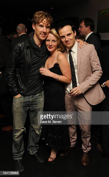 Benedict Cumberbatch Lisa Dillon and Andrew Scott attend the afterparty following the press night of 'Design For Living' at Baltic on September 15...