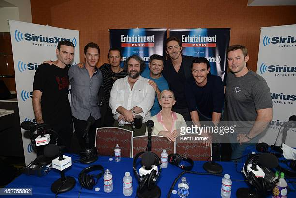 Benedict Cumberbatch Orlando Bloom Peter Jackson Andy Serkis Cate Blanchette Lee Pace and Luke Evans pose with radio hosts Dalton Ross and Matt Bean...