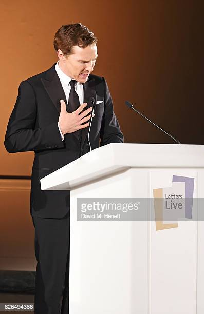 Benedict Cumberbatch performs as PORTER hosts a special performance of Letters Live in celebration of their Incredible Women of 2016 at The VA on...
