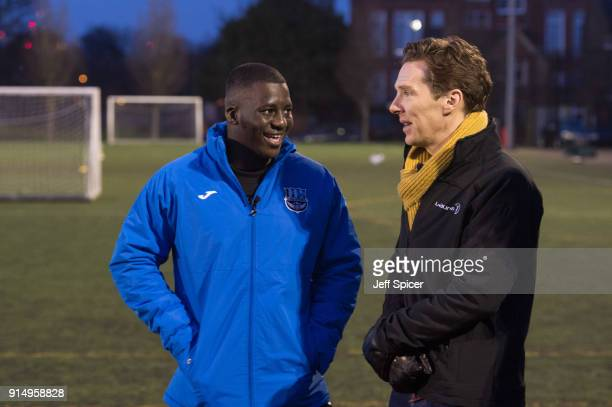 Benedict Cumberbatch pictured with coach Ade Akande visits the Laureus supported Active Communities Network programme at Burgess Park Community...