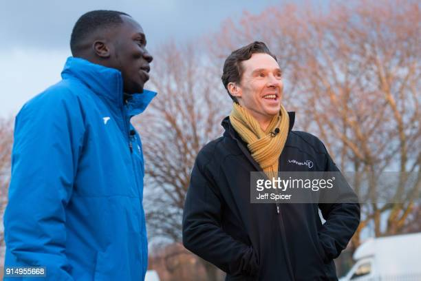 Benedict Cumberbatch pictured with coach Ibrahim Kanu visits the Laureus supported Active Communities Network programme at Burgess Park Community...