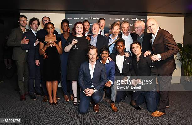Benedict Cumberbatch poses with his fellow cast members including Barry Aird Eddie Arnold Leo Bill Sian Brooke Nigel Carrington Ruairi Conaghan Rudi...