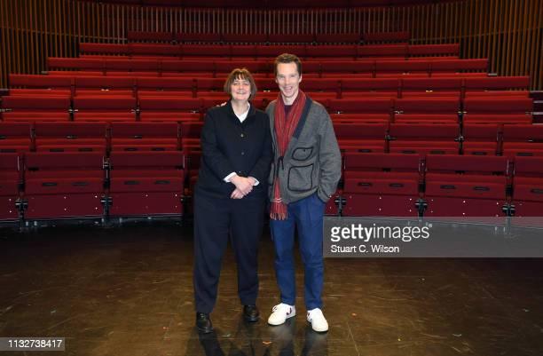 Benedict Cumberbatch poses with the new LAMDA Director Sarah Frankcom at LAMDA on February 28 2019 in London England