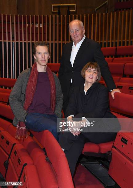 Benedict Cumberbatch poses with the new LAMDA Director Sarah Frankcom and Shaun Woodward Chair at LAMDA on February 28 2019 in London England