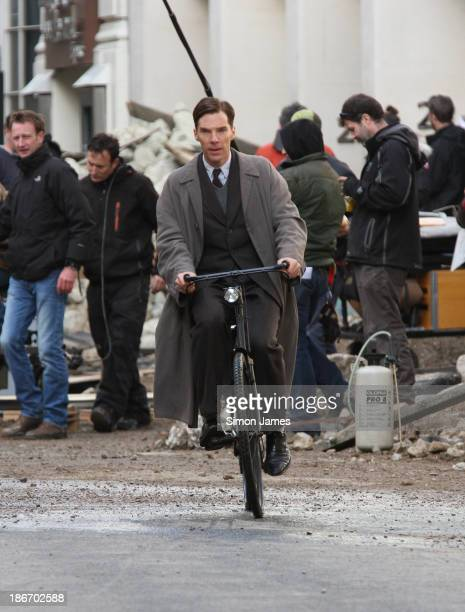 Benedict Cumberbatch riding a bicycle filming a scene for The Imitation Game on November 3 2013 in London England