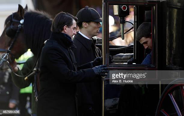 Benedict Cumberbatch seen on the set of 'Sherlock' on February 8 2015 in London England