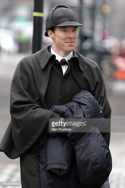 Benedict Cumberbatch sighted filming Sherlock in London on February 7 2015 in London England