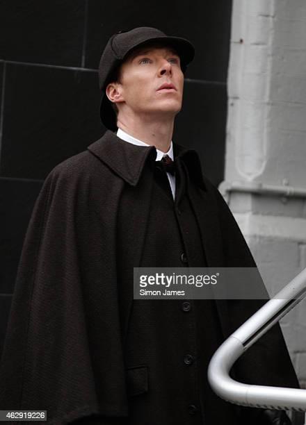 Benedict Cumberbatch sighting filming Sherlock on February 7 2015 in London England