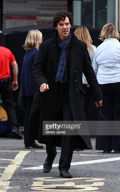 Benedict Cumberbatch sighting on set of Sherlock on April 14 2013 in London England